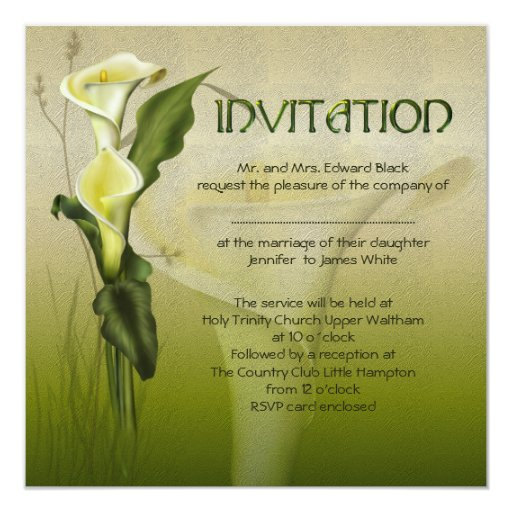 White Calla Wedding 5.25x5.25 Square Paper Invitation Card
