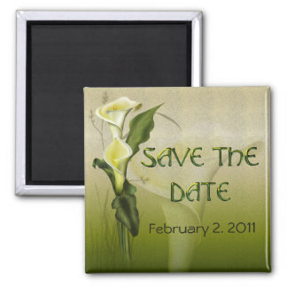 White Calla Wedding Suite Save the Date Magnet