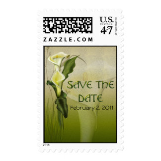 White Calla Wedding Suite Save the Date Postage