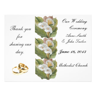 White callas Wedding Program Personalized Flyer