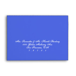 White Calligraphy Blue Floral Watercolor Wedding Envelope