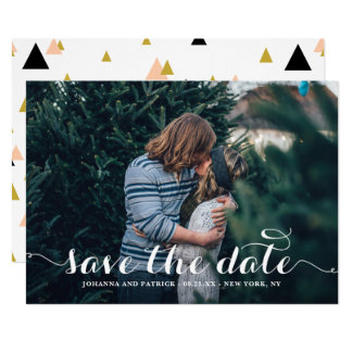 White Calligraphy Script Photo Save the Date Card