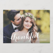 White Calligraphy Script Photo Wedding Thank You
