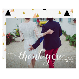 White Calligraphy Script Photo Wedding Thank You Card