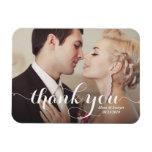White Calligraphy Script Wedding Thank You Photo Rectangular Photo Magnet