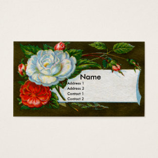 White Camelia Floral Victorian Business Card