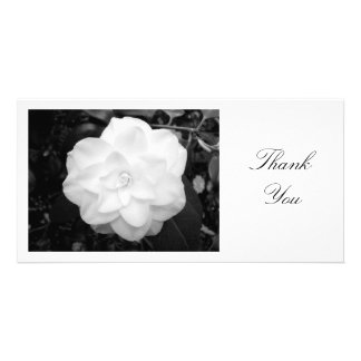 White Camelia - Thank You Personalized Photo Card