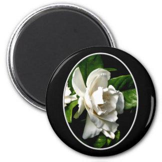 White Camellia 2 Inch Round Magnet