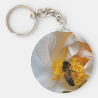 White Camellia and Bee Keychain