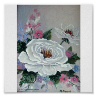 WHITE CAMELLIA  FLORAL OIL PAINTING POSTER