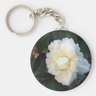 white camellia flower keychain