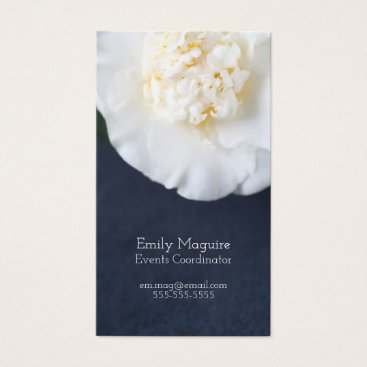 Professional Business White camellia flower with room for text business card