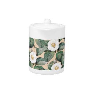 White Camellia on beige pattern Teapot