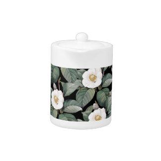 White Camellia on black pattern Teapot