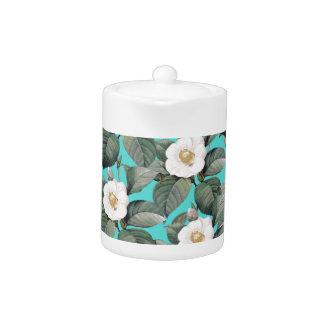 White Camellia on Teal Pattern Teapot