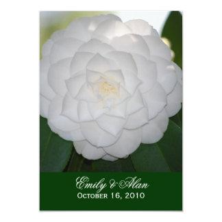 White Camellia Wedding Invitations 5x7