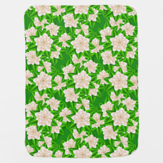 White Camellias and Green Leaves Baby Blanket
