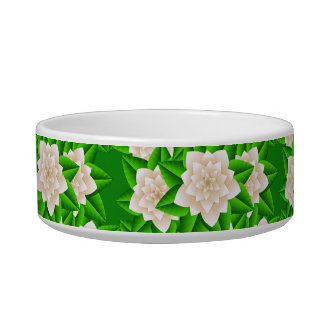 White Camellias and Green Leaves Bowl