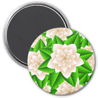 White Camellias and Green Leaves Magnet