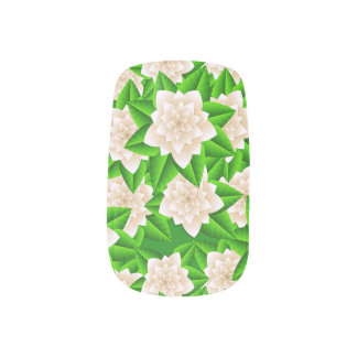 White Camellias and Green Leaves Minx Nail Art