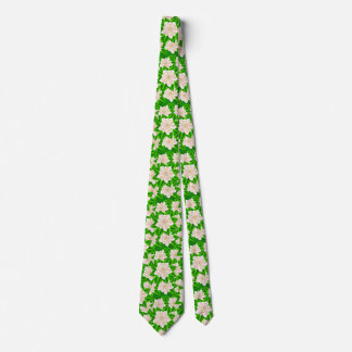 White Camellias and Green Leaves Neck Tie
