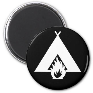 White Campfire and Tent Symbol for Dark Background 2 Inch Round Magnet