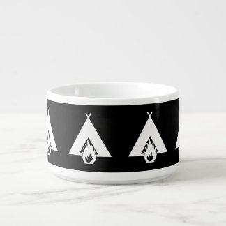 White Campfire and Tent Symbol for Dark Background Bowl