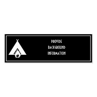 White Campfire and Tent Symbol for Dark Background Business Card