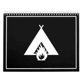 White Campfire and Tent Symbol for Dark Background Calendar