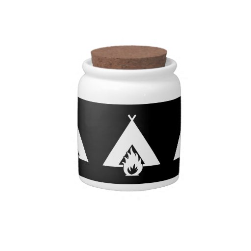 White Campfire and Tent Symbol for Dark Background Candy Jars