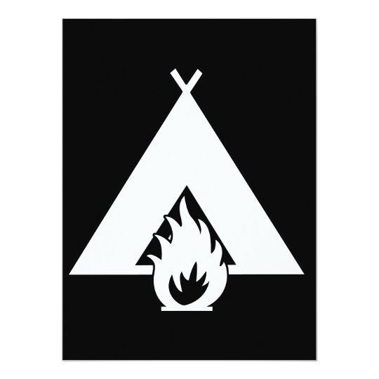 White Campfire and Tent Symbol for Dark Background Card
