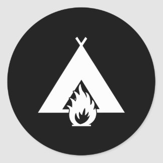 White Campfire and Tent Symbol for Dark Background Classic Round Sticker