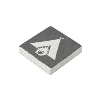 White Campfire and Tent Symbol for Dark Background Stone Magnet