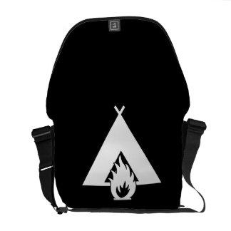 White Campfire and Tent Symbol for Dark Background Messenger Bag