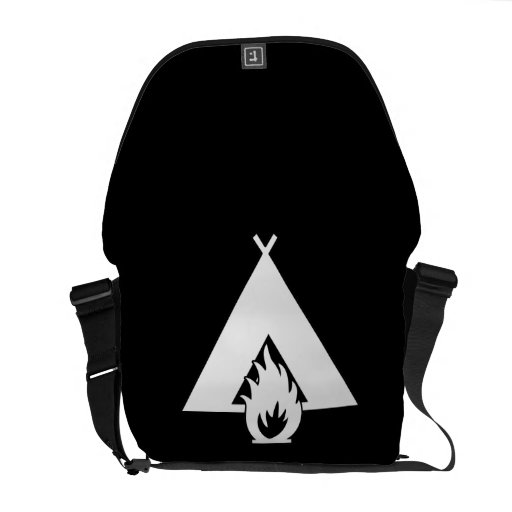White Campfire and Tent Symbol for Dark Background Courier Bags