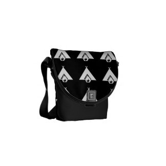 White Campfire and Tent Symbol for Dark Background Courier Bag