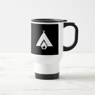 White Campfire and Tent Symbol for Dark Background Mug