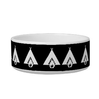 White Campfire and Tent Symbol for Dark Background Pet Water Bowl