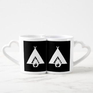 White Campfire and Tent Symbol for Dark Background Couples Mug