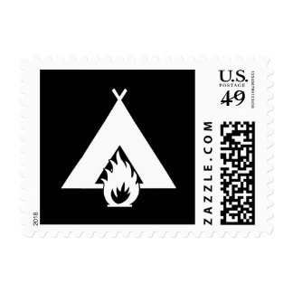 White Campfire and Tent Symbol for Dark Background Postage