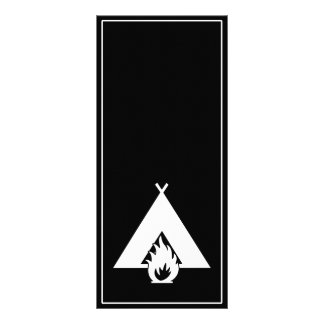 White Campfire and Tent Symbol for Dark Background Full Color Rack Card