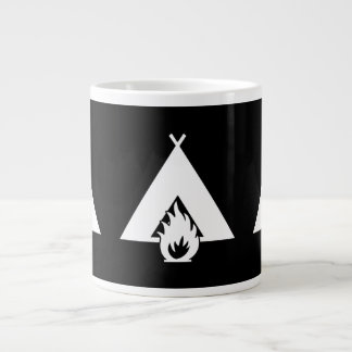 White Campfire and Tent Symbol for Dark Background Extra Large Mug