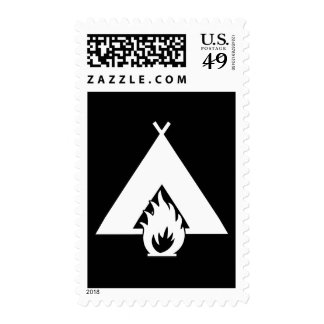 White Campfire and Tent Symbol for Dark Background Stamps
