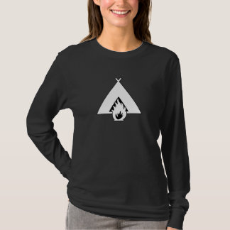 White Campfire and Tent Symbol for Dark Background T-Shirt
