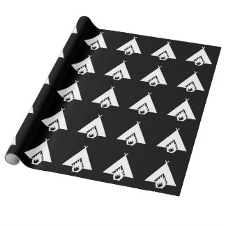 White Campfire and Tent Symbol for Dark Background Wrapping Paper