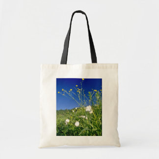 white Canada anemone and buttercups, Quebec, Canad Budget Tote Bag