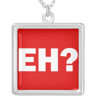 White Canadian EH with Question Mark on Red Silver Plated Necklace