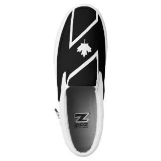 White CANADIAN Maple on Black Slip-On Sneakers