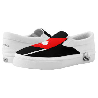 White CANADIAN Maple on Red and Black Slip-On Sneakers