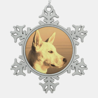 White Canadian Shepard Pewter Snowflake Ornament